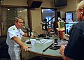 US Navy 110906-N-CI293-168 Rear Adm. Douglas J. McAneny, commandant of the National War College, is interviewed by Dennis Kellog of KLIN News Talk.jpg