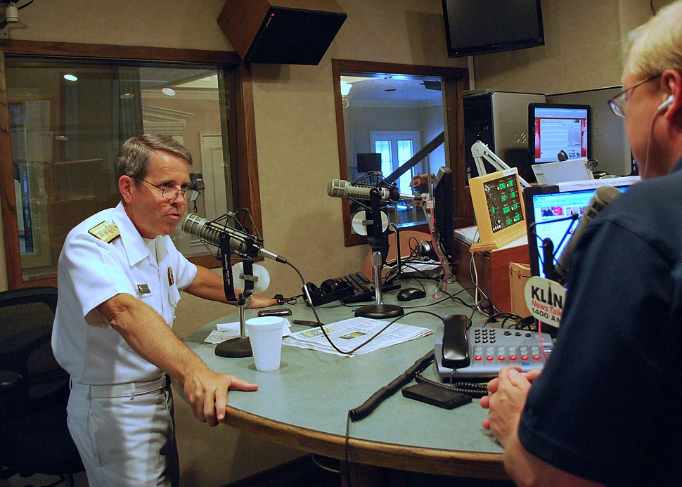 US Navy 110906-N-CI293-168 Rear Adm. Douglas J. McAneny, commandant of the National War College, is interviewed by Dennis Kellog of KLIN News Talk