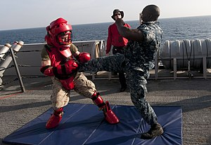 US Navy 120105-N-PB383-685 A Sailor defends against a simulated attacker after being sprayed with oleoresin capsicum.jpg