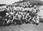 US Navy plane captains of VF-4A with F8F on USS Kearsarge (CV-33) in 1947.jpg
