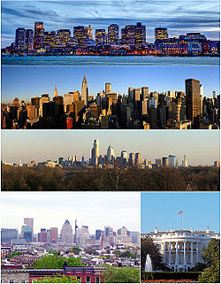 Major cities of the Northeast Megalopolis counterclockwise from top: Boston, New York, Philadelphia, Baltimore, and Washington, D.C..