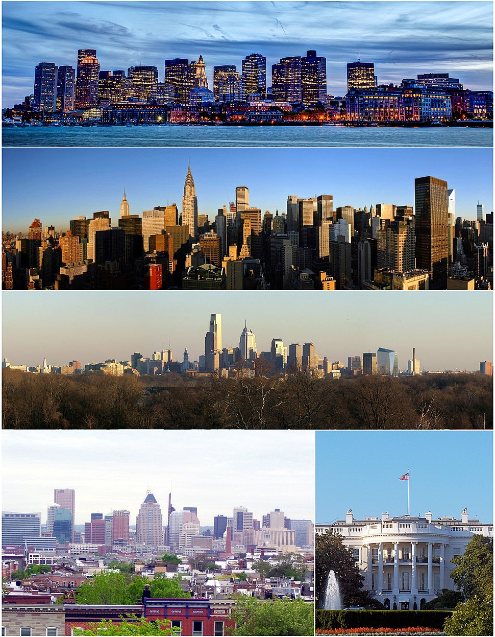Major cities of the Northeast megalopolis counterclockwise from top: Boston, New York, Philadelphia, Baltimore, and Washington, D.C.