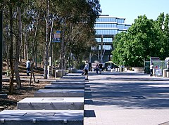 The Library Walk leading toward the Geisel Library; it is the geographical center of the colleges on campus.