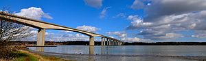 European route E30 - Orwell Bridge, carrying the E30 west of Felixstowe.
