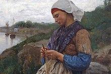 Ragazza che pesca o rammendare le reti, 1876