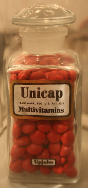Upjohn - Unicap, a multivitamin produced by Upjohn.