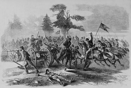 Union Cavalry capture Confederate guns at Culpepper. Union cavalry charge culpepper.jpg