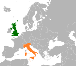 Map indicating locations of United Kingdom and Italy