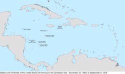 Map of the United States in the Caribbean Sea from November 22, 1869, to September 8, 1879