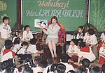 United States First Lady Mrs. Laura Bush is shown with some 350 school children during a story telling session.jpg