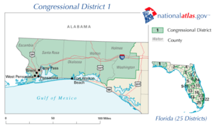 United States House of Representatives elections in Florida, 2010 - Image: United States House of Representatives, Florida District 1 map