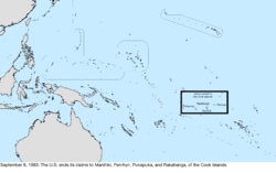 Map of the change to the United States in the Pacific Ocean on September 8, 1983