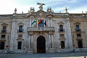 Royal Tobacco Factory - Main façade of the former Royal Tobacco Factory, now the seat of the rectorate of the University of Seville, seen from the San Fernando Street
