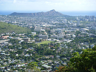 University of Hawaii at Manoa - UH Mānoa campus viewed from Round Top Drive, with Diamond Head in the background