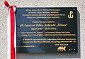Unveiling of plaque to Zygmunt Żyłka-Żebracki at 3 Za Potokiem in Sanok (2018), plaque.jpg