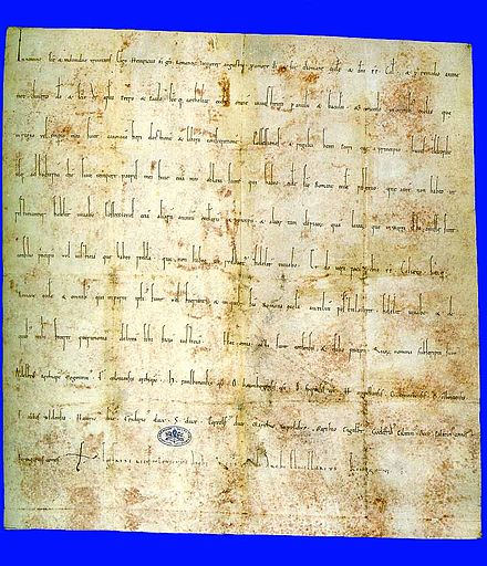 The Concordat of Worms, which Honorius II helped to draft and which Emperor Lothair III was forced to comply with for Papal support Urkunde Wormser Konkordat.jpg
