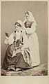 Världsutställningen i Paris 1867. Två kvinnor i folkdräkter från Blekinge - Nordiska Museet - NMA.0039849.jpg
