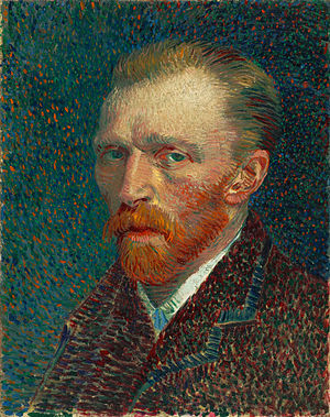 Pointillism - Vincent van Gogh, Self Portrait, 1887, using pointillist technique.
