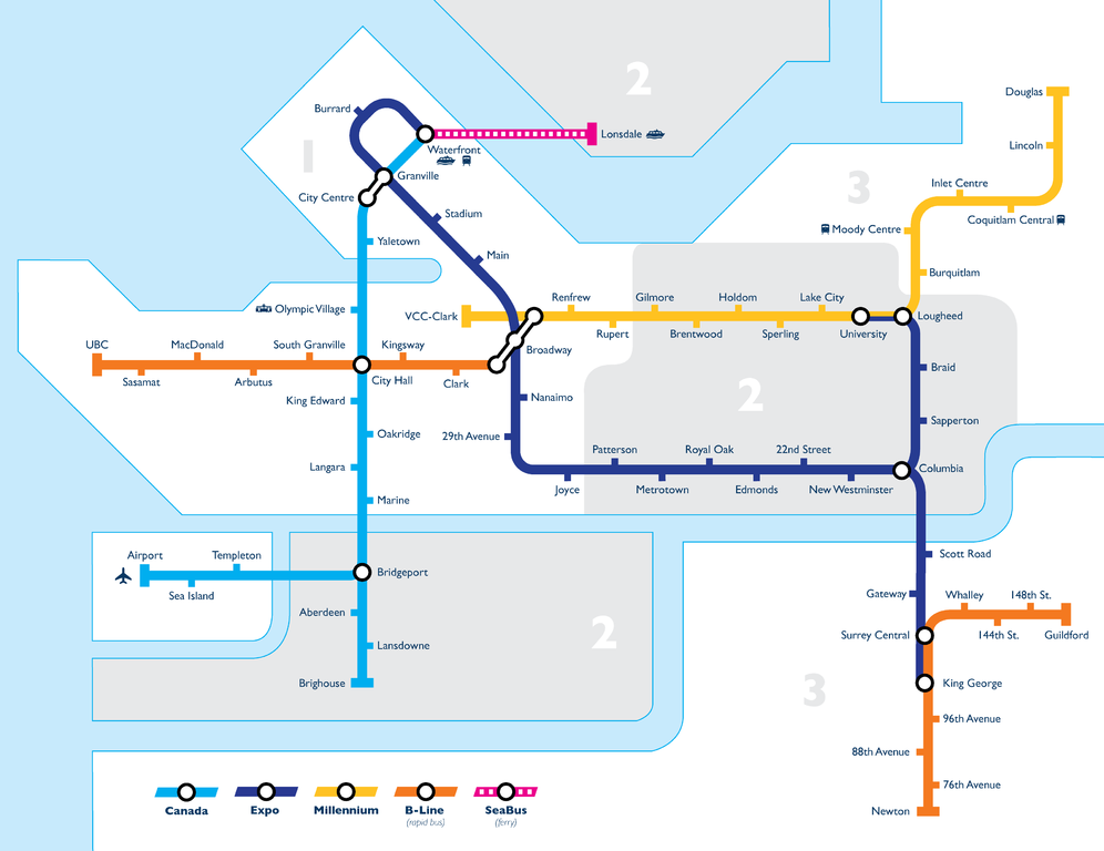 Map Of Canada Line Vancouver.File Vancouver Transit Network Map Png Wikipedia
