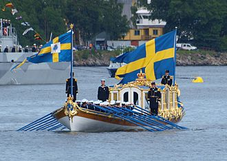 Vasaorden (barge) - The royal barge Vasaorden during the wedding of Victoria, Crown Princess of Sweden, and Daniel Westling