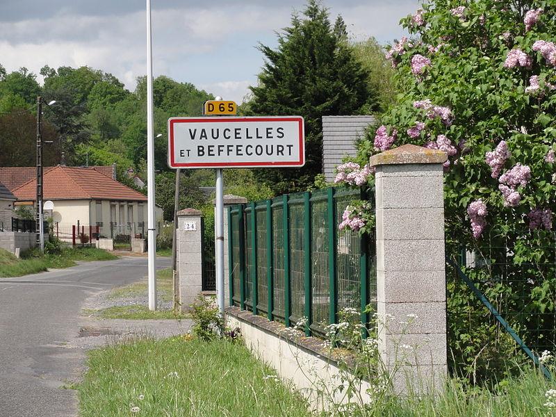 Vaucelles-et-Beffecourt (Aisne) city limit sign