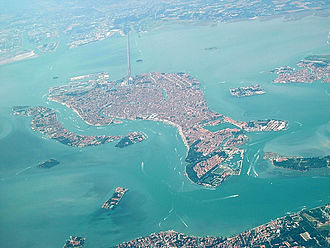 Aerial view of Venice including the Ponte della Liberta bridge to the mainland. Venice as seen from the air with bridge to mainland.jpg