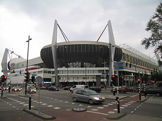 Eindhoven Stadion railway station - Image: Ventilating corner seats of Philips Stadion