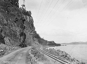 Vestfold Line - Section of the line near Holmestrand in 1902