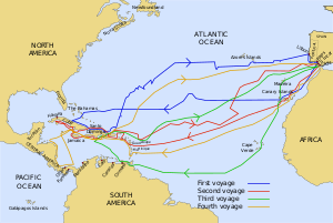 English: The routes of the four voyages of Col...