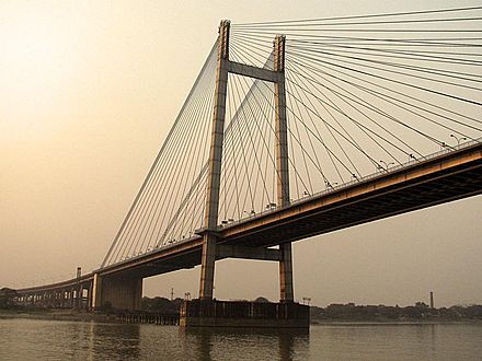 The Vidyasagar Setu which spans the Hoogli River in Kolkata Vidyasagar setu.jpg