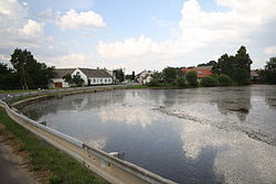 Village pond in Lesná, Třebíč District.JPG