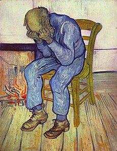 On the Threshold of Eternity. El pintor holandés Vincent van Gogh, aquejado de un grave trastorno mental (quizá un tipo de psicosis que incluía estados de fuerte depresión), pintó este cuadro en 1890, en el que presenta a un anciano en un estado de desesperación.