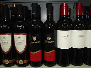 Istria County - Various bottles of Teran, red wine with controlled geographical origin, produced in specified region of Western Istria