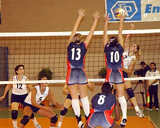 Volleyball ballgame and team sport in which two teams compete to ground the ball on their opponents side of the net