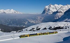 Wengernalp Railway - Just below Kleine Scheidegg, view down to Grindelwald.