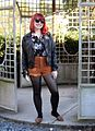 Warm Brown Corduroy Shorts, Dark Floral Top, Leather Jacket, Wayfarers, and Brown Pointed Flats (22632580867).jpg