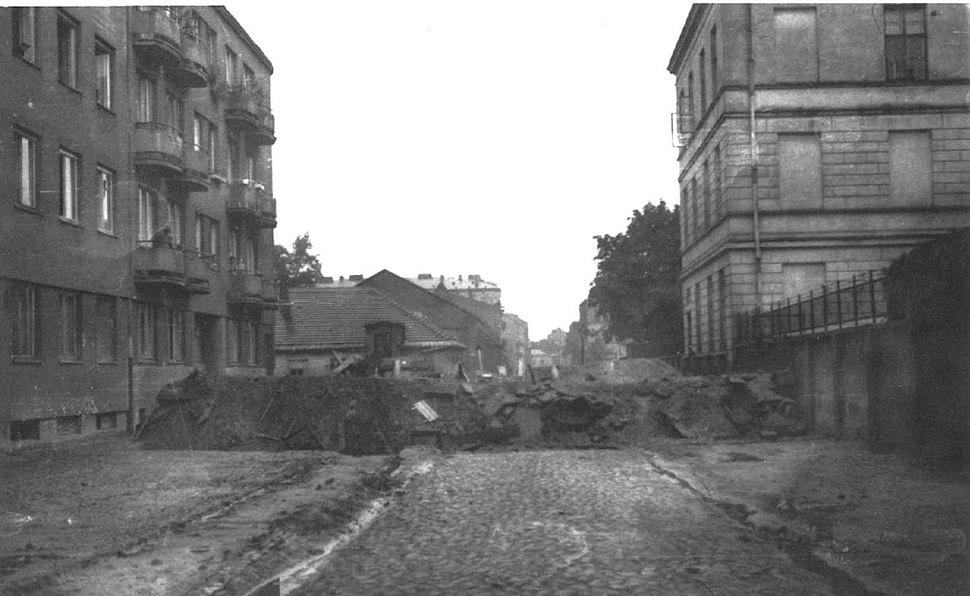 Warsaw Uprising - Barricade on Corner of Karolkowa and Żytnia Streets