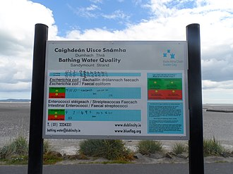 Water quality - Sign in Sandymount, Ireland, describing water quality, giving levels of faecal coliform E. coli and Enterococcus faecalis.