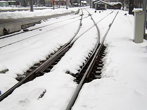 Railroad switch - Gas heating keeps a switch free from snow and ice.