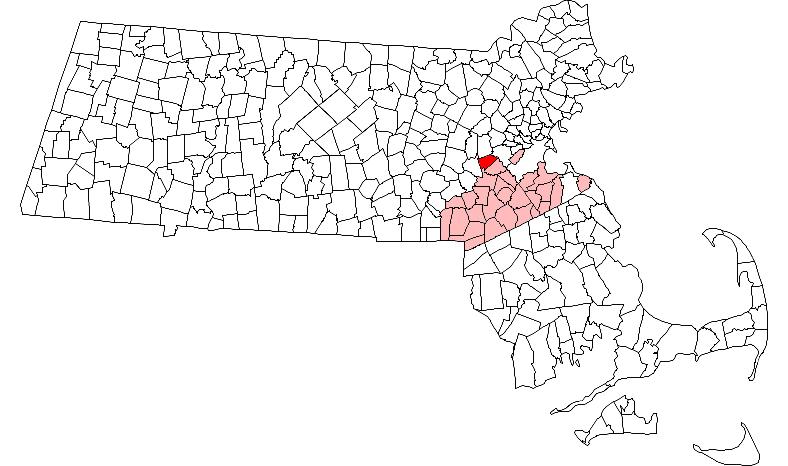 Location of Wellesley in Norfolk County, Massachusetts