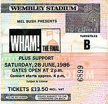 Un ticket de concert de couleur orange. Il y est écrit « Wham! – The Final »