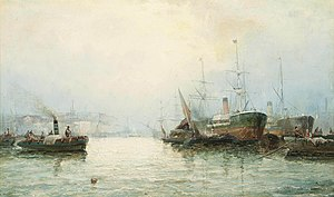 William Anslow Thornley - A misty morning on the Thames.jpg