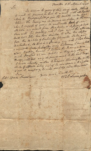 William Livingston - Letter from Governor William Livingston to Israel Shreve, 1778