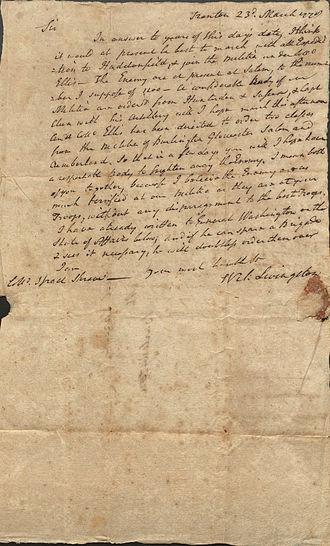 William Livingston - Letter from Governor William Livingston to Israel Shreve, 1778