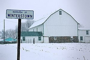 Winterstown, Pennsylvania - Snowy landscape at the northern end of Main Street
