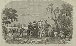 Depiction of John Winthrop landing at Salem in...
