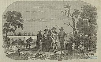 John Winthrop - Engraving showing Winthrop's arrival at Salem
