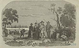 John Winthrop - Engraving showing Winthrop's arrival at Salem