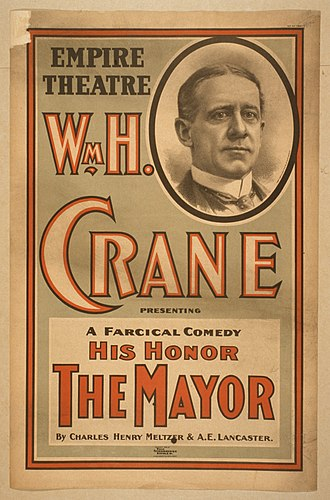 William H. Crane - 1898 poster for Crane's starring role in the Broadway production of His Honor the Mayor
