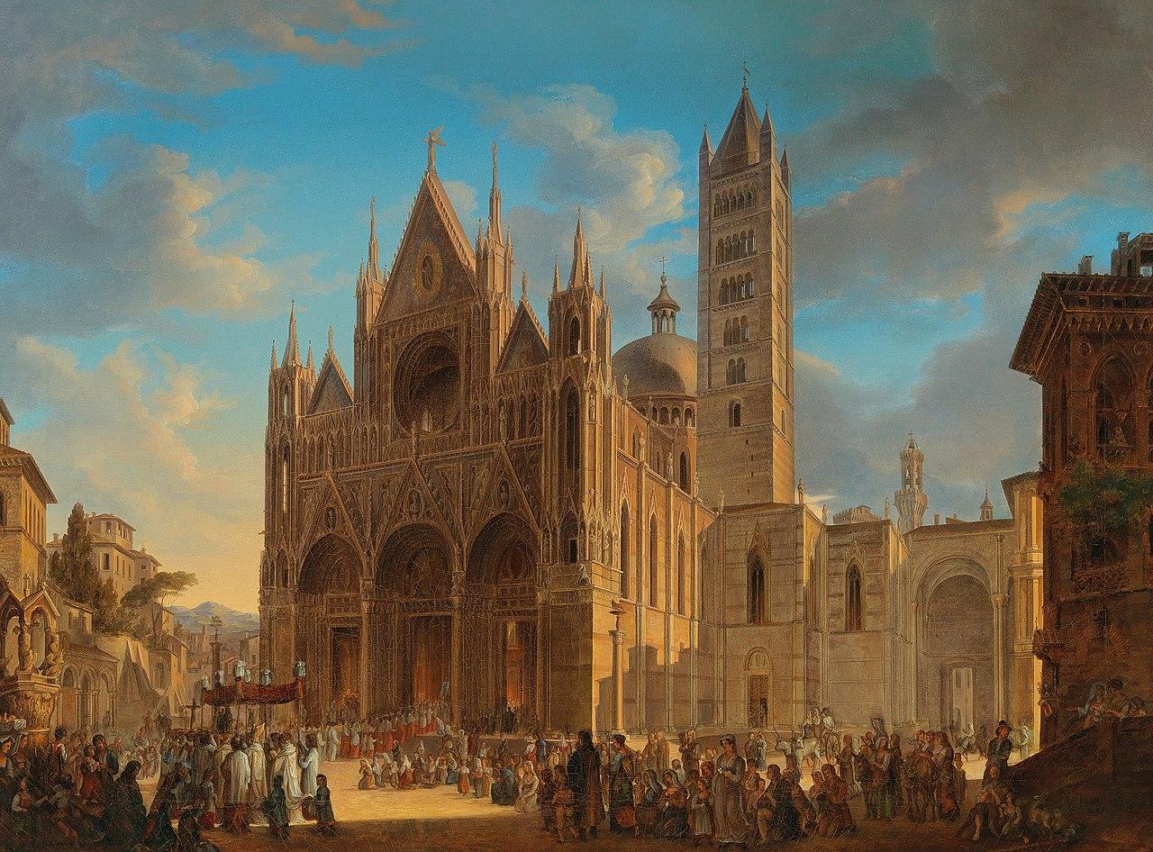 Woldemar Hermann Prozession vor dem Dom von Siena 1832.jpg